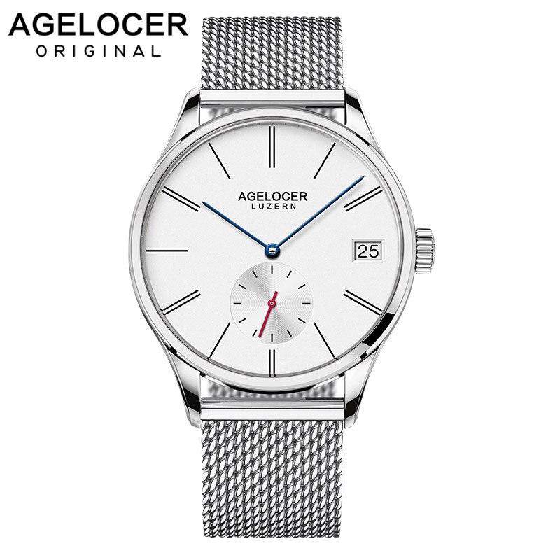 Agelocer luxe Top marque hommes montre robe étanche en acier inoxydable montre 1103A9