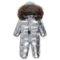 2018 зима новорожденный вниз комбинезон пуховик для мальчиков верхняя одежда Пуховое пальто для девочки натуральный мех блестящий вниз полз