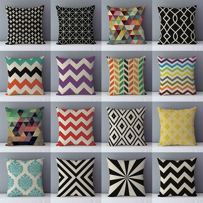 Quality Cozy Popular Geometric Couch Cushion Home Decorative Pillows Cotton Linen 45x45cm Seat Back Cushions Bedding Pillowcase