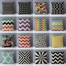 Cojín de sofá geométrico Popular y acogedor de calidad, almohadas decorativas para el hogar, Lino de algodón, 45x45 cm, cojines para la espalda, ropa de cama, funda de almohada