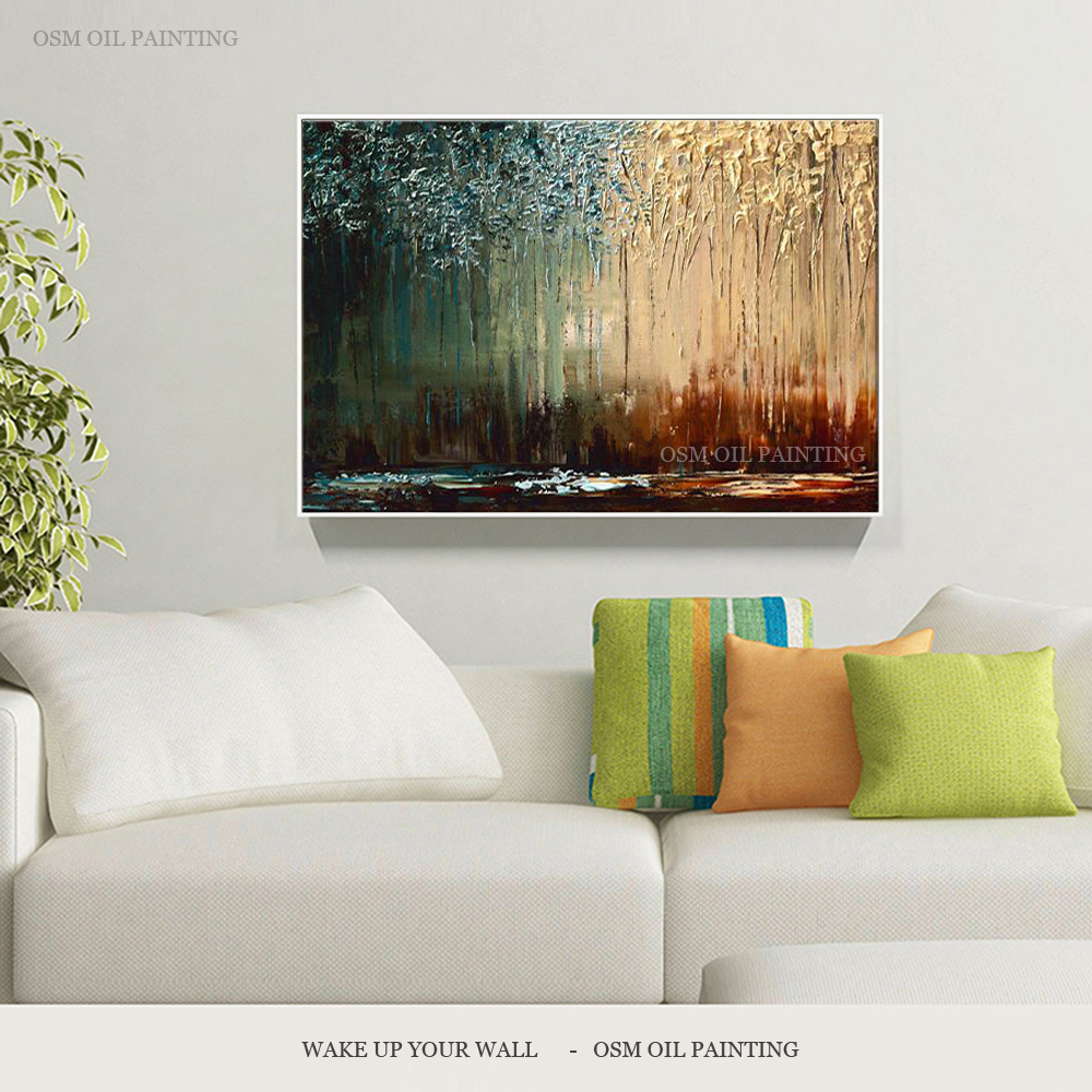 Top Artist Hand-painted High Quality Abstract Interior Design Oil Painting Deep Colors Oil Painting Match with Brunet Furniture interior design