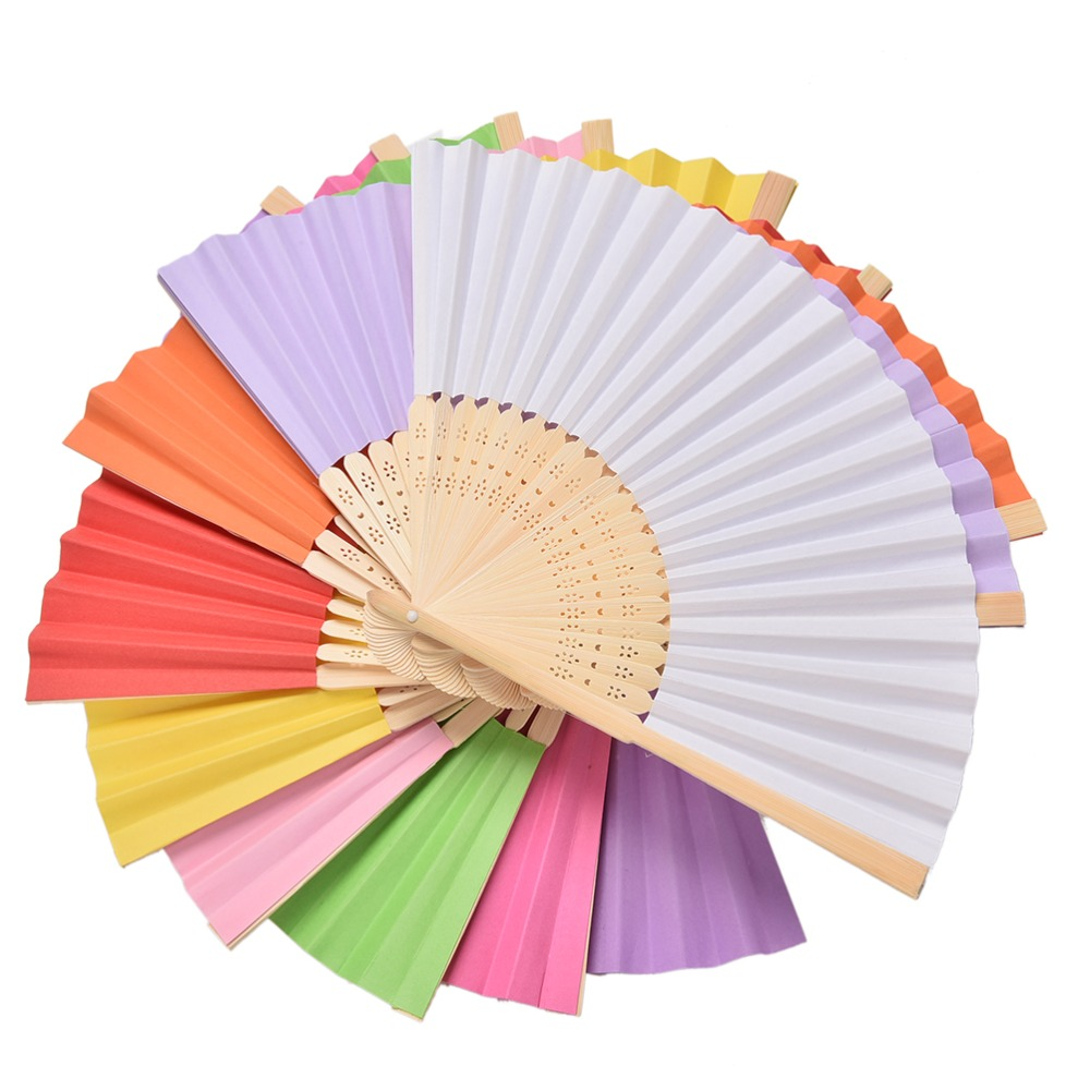 1pc Chinese Hand Paper Fans Pocket Folding Bamboo Fan