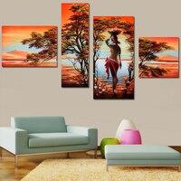 Afrikanischen Moderne Abstrakte Ölgemälde Nude Sexy Nackte Frauen Baum Auf leinwand 4 Panel Home Wand Dekorative Für Wohnzimmer