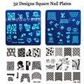 1 Unids Nail Art Sello Estampado de la Imagen Plate Plantilla Stencil Herramientas de Manicura de Uñas de Acero Inoxidable, 32 Estilos Para Elegir