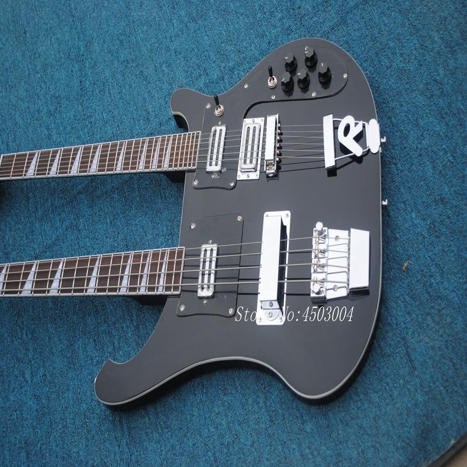 Offre spéciale Top qualité nouveauté RICK Double cou 4 cordes basse + 6 cordes guitare électrique noire livraison gratuite - 2