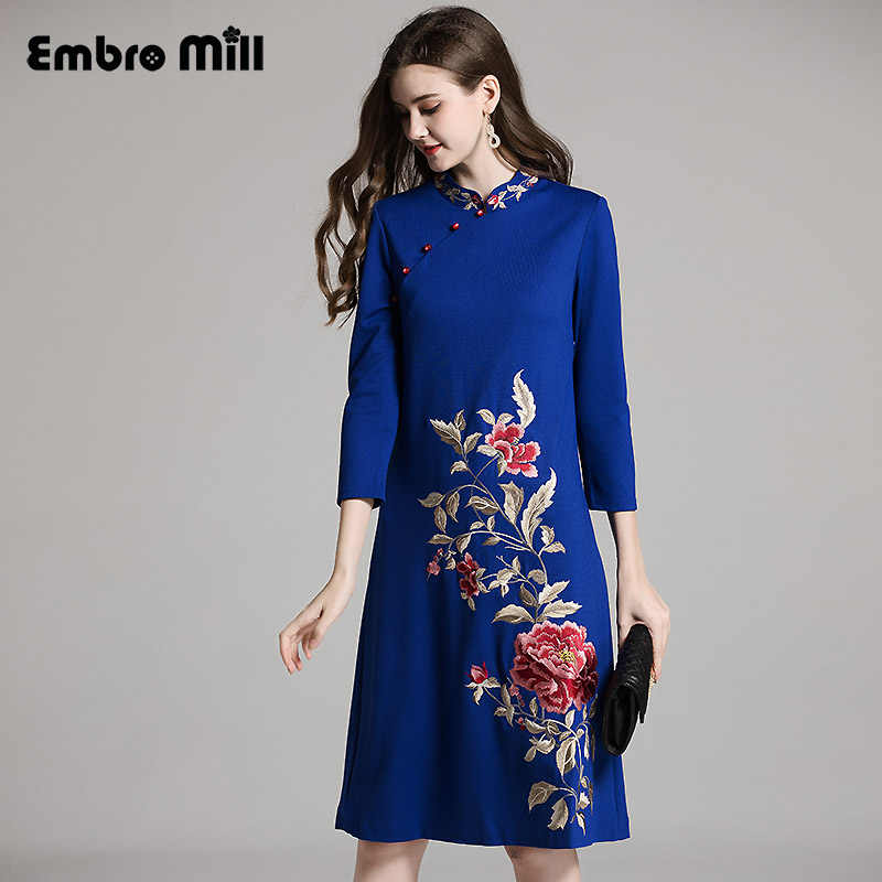 06494ce05 Autumn women Chinese style floral midi cheongsam dress embroidery dresses  plus size elegant loose lady Qipao