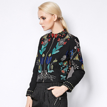 Short Jacket Autumn Winter 2017 Fashion Runway Brand Women's Elegant Long Sleeve Plus Size Flowers Embroidery Jacket