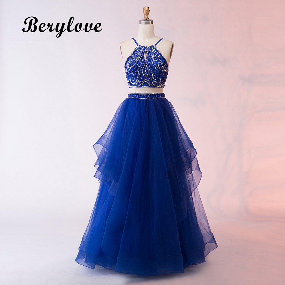 BeryLove Long Royal Blue Two Pieces Prom Gowns 2018 Halter Beading ...