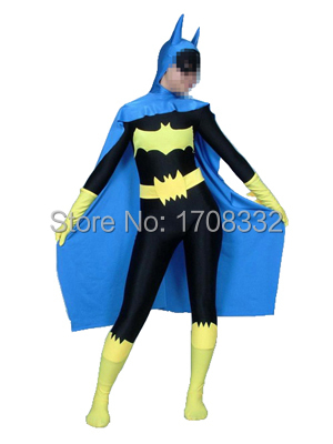free shipping Batgirl costume Lycra Spandex Batman Superhero Costume halloween cosplay costume For Adult/Kids/Custom Made