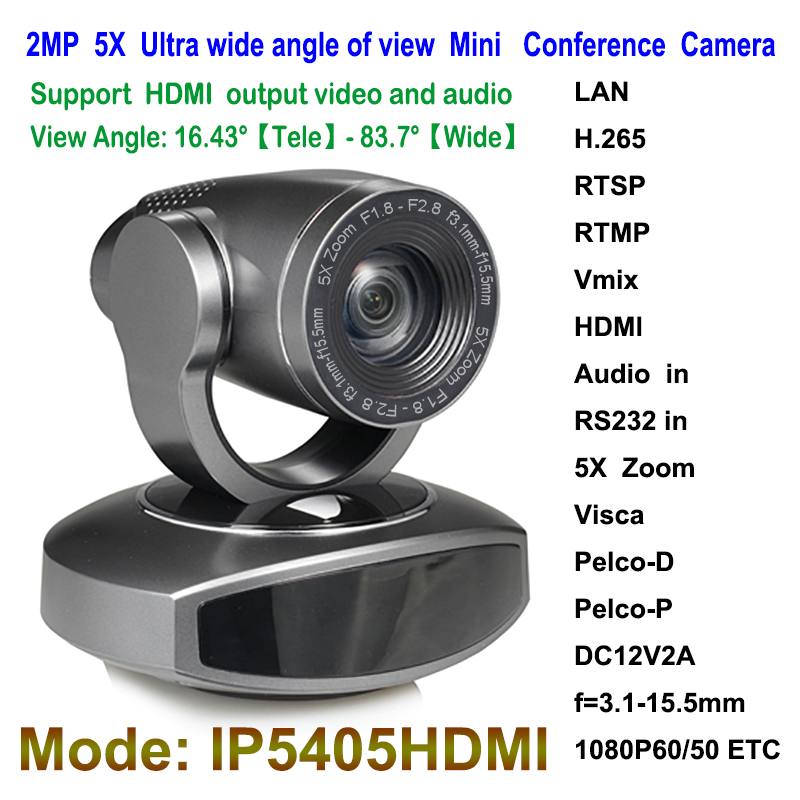 2MP 1080P60 IP Live streaming camera ptz video Audio 5x Zoom wide angle with hdmi output image