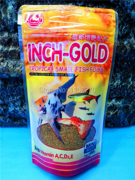 1PC 80G Inch-Gold Pellets Tropical Fish Food Special Colour Enhancer Added Comida De Peixe(Vitamin A,C,D.E)
