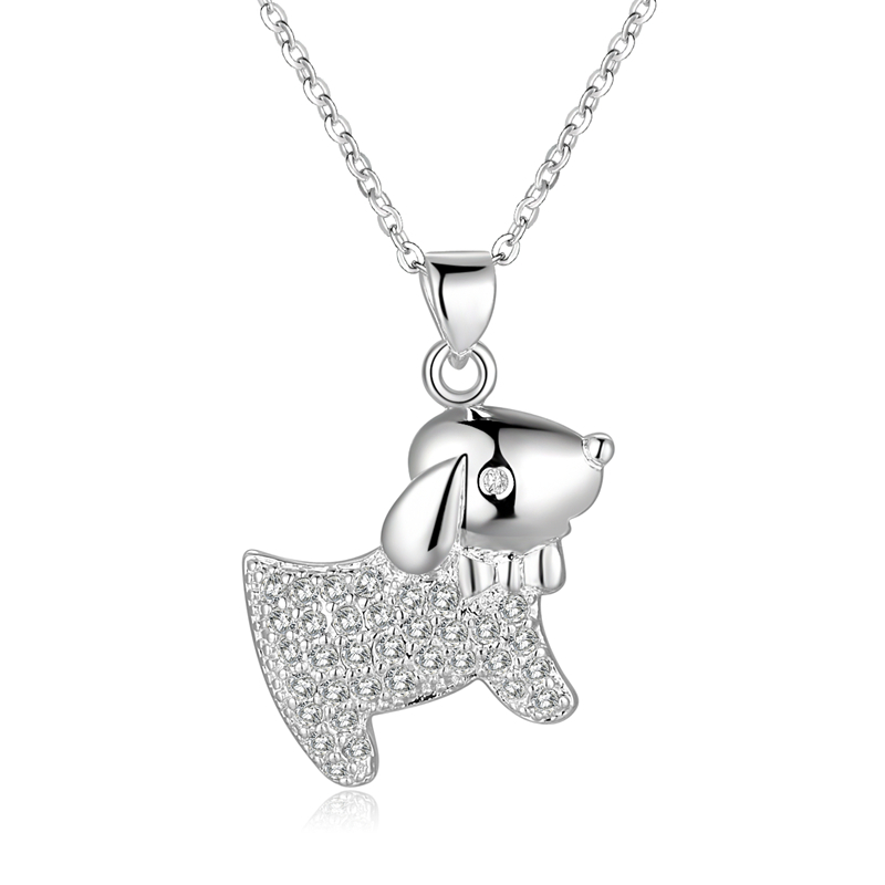 925 sterling silver necklace animal loverly dog tag with crystal stone pendants necklaces women fine choker colliers perles N551