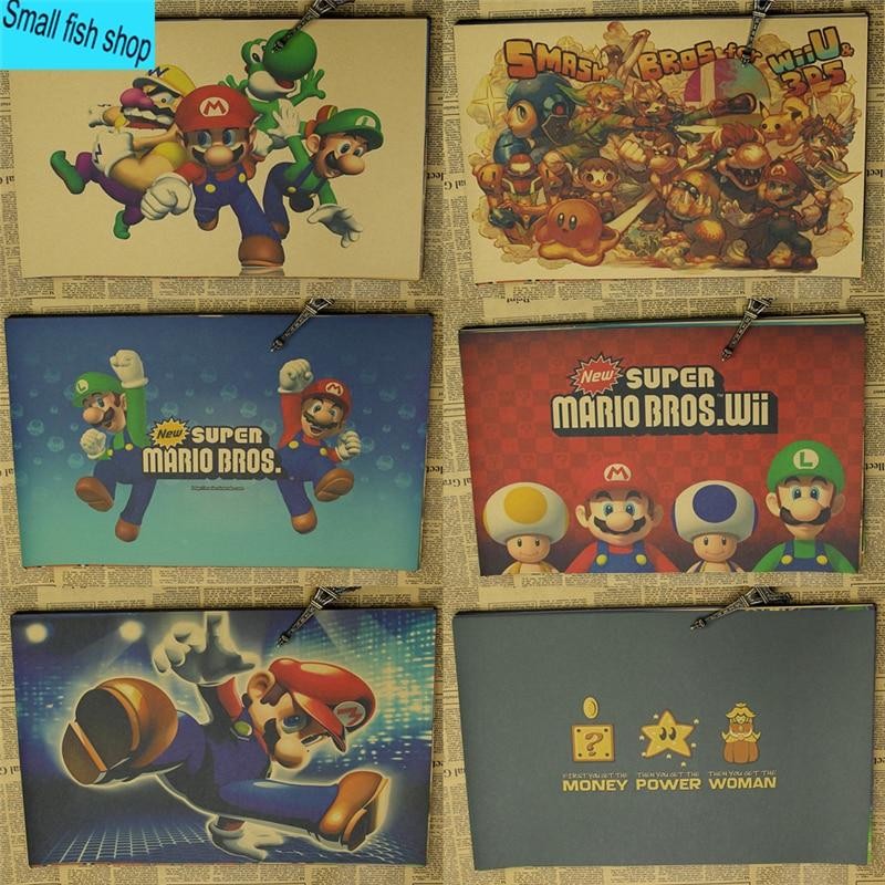 SUPER MARIO BROS Mario Classic Game Poster Decoración del equipamiento del hogar Kraft Game Poster Drawing core Wall stickers