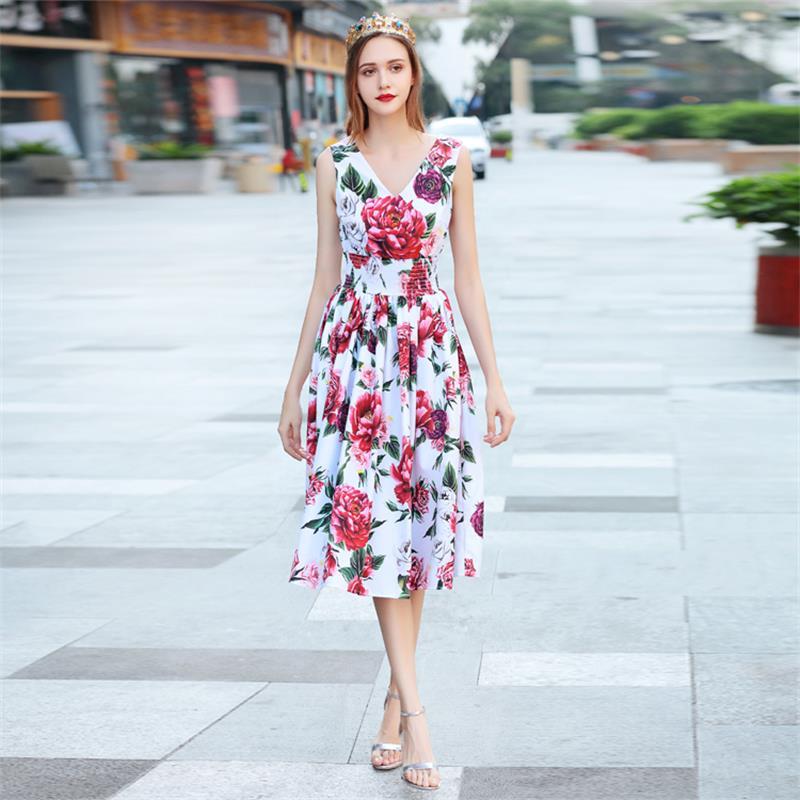 Imprimé De Qualité Casual Dx0734n Haute V Nu Sans 2018 Robe Dos Floral Femmes Manches Plage Piste D'été cou 5jLcRq43A