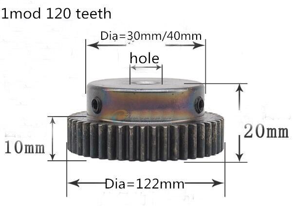 Spur Gear pinion 120T 120 Teeth Mod 1 M=1 Finishing hole 8mm 10mm Right Teeth CNC gear rack transmission RC car цена и фото