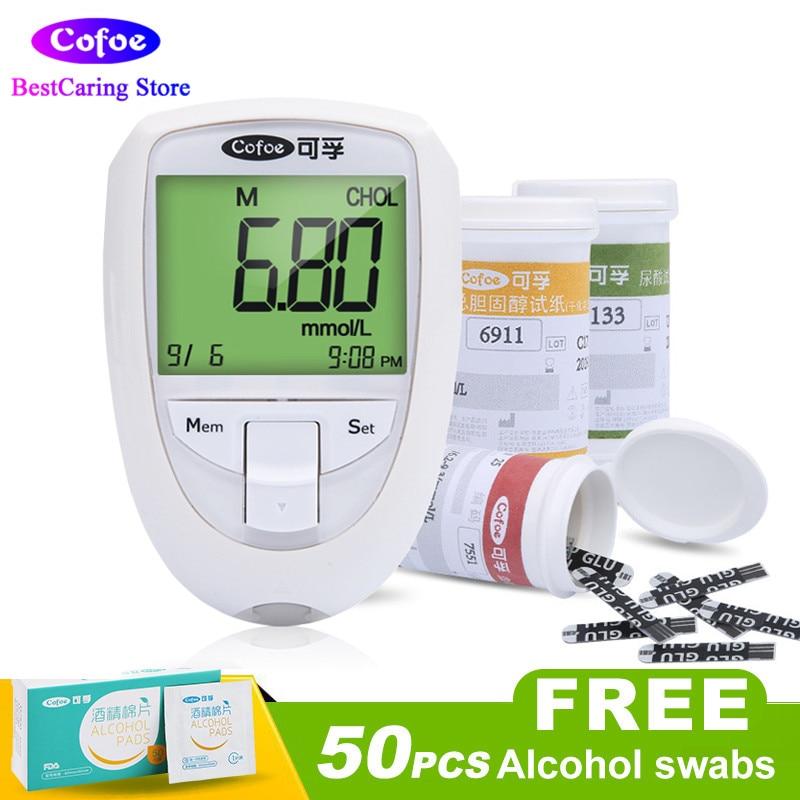 Cofoe Cholestérol et d'acide Urique et Le Glucose Test Compteur Kit 3 in1 Multi-Fonction Système de Surveillance Du Diabète La Goutte Dispositif avec Bandes