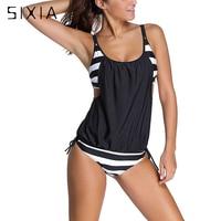 Sexy Black Striped Two Pieces Large Size Tankini Women Plus Size Two Piece Swimwear 2017 Female