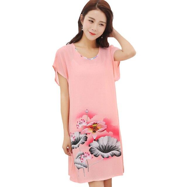 Hot New Pink Women Cotton Summer Night Dress Elegant Flower Sleepshirt  Nightwear Soft Casual Sleepwear Bath 91cca7135