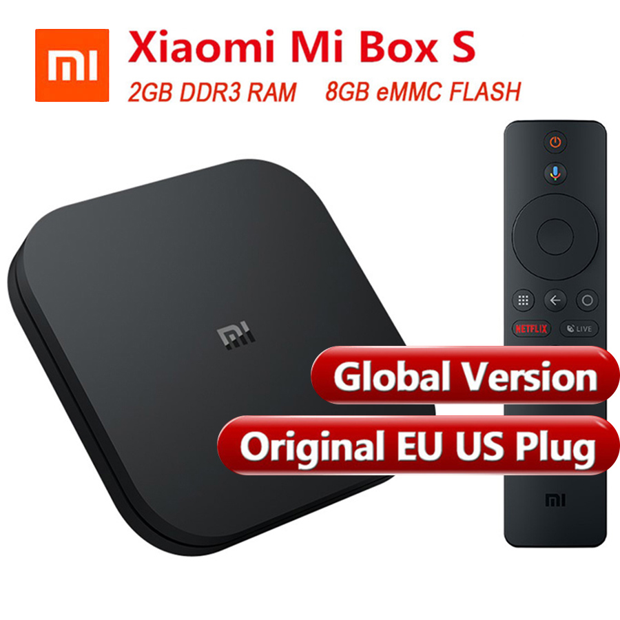 Global Version Originale Xiao mi mi Boîte S boîtier de smart tv 4 Android 8.1 4 K Quad Core 2 GB 8 GB HD mi 2.4G 5.8G WiFi Bluetooth 4.2 TV Box