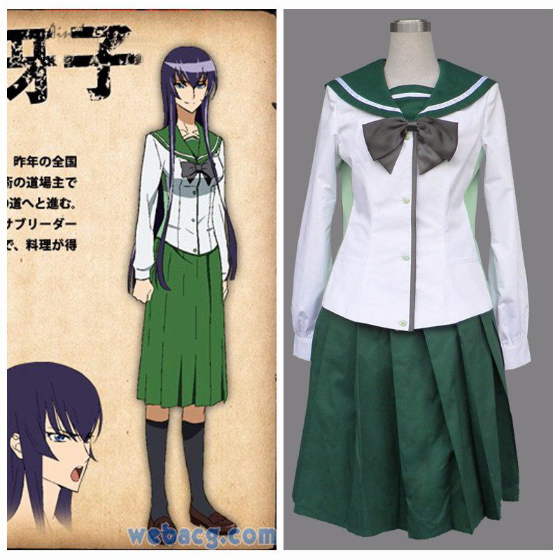 Ainclu Free Shipping HIGHSCHOOL OF THE DEAD Anime Female School Uniform Long Skirt Halloween Cosplay Costume
