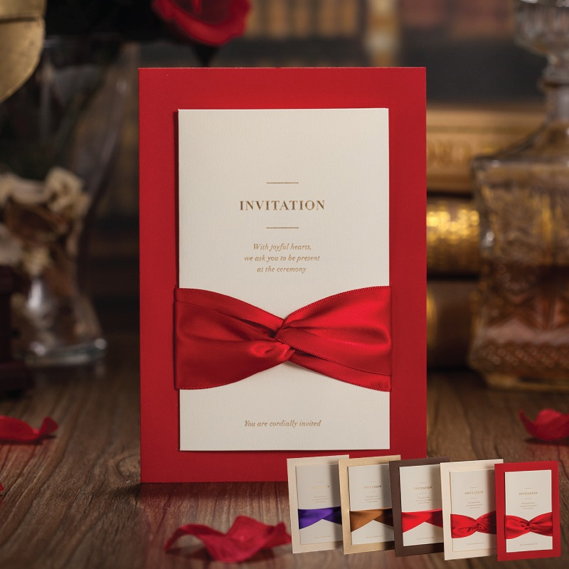 Red Wedding Invitations Cards Clic Chinese Bow Knot Beautiful Elegant Creative Invitation Card