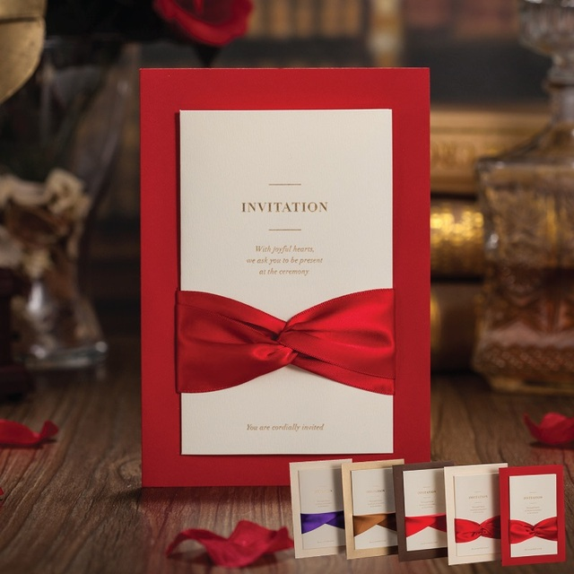Red wedding Invitations Cards Classic Chinese Bow Knot Beautiful