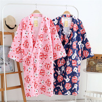 Winter Thicker Kimono Robe for Women Winter Bathrobe Long Sleeve Sakura Rabbits Print Dressing Gown Japanese Sleepwear