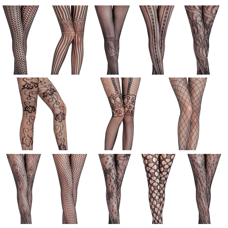 Women's Tights Sexy Solid Striped Elastic High Waist Transparent Stockings, Lingerie Garter Fishnet Pantyhose S09
