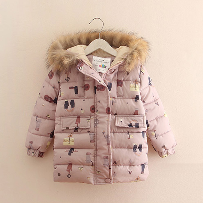 Winter Scrawl Printed Hooded Girls Coats Baby Children Outerwear Warm Kids Jacket Clothes 2017 T1/6856CO a15 girls jackets winter 2017 long warm duck down jacket for girl children outerwear jacket coats big girl clothes 10 12 14 year