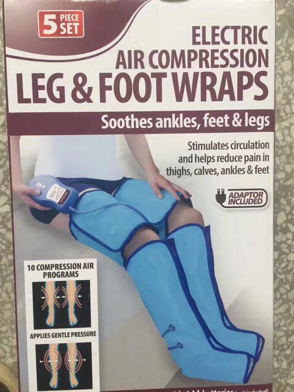 Aparelhos de massagem elétrica pé de pressão de ar massager perna de compressão de ar pé relaxar massageador coxa wraps manual Em Inglês