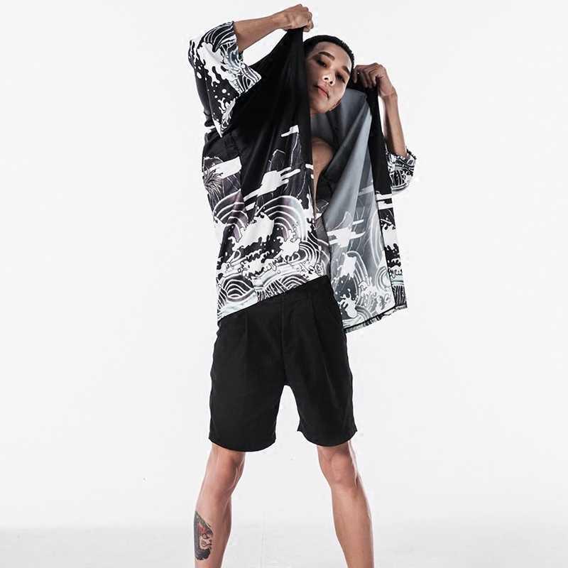 Camicette maschio camicia hawaiana uomini kimono Giapponese cardigan harajuku Giapponese streetwear abbigliamento fresco camicia maschile camicia KK001