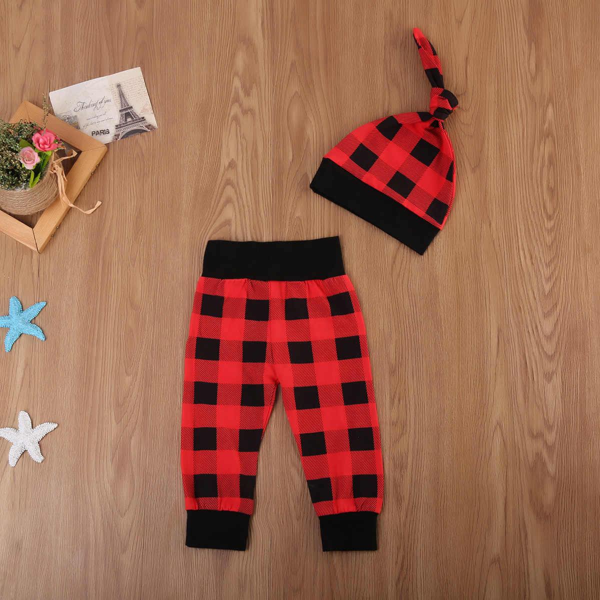 ฤดูใบไม้ผลิฤดูใบไม้ร่วงฤดูใบไม้ร่วงเด็กทารก 1st วันเกิดชุดผ้าฝ้ายพิมพ์ลาย + เสื้อสีดำลายสก๊อตสีแดงกางเกง 2 PCS Set