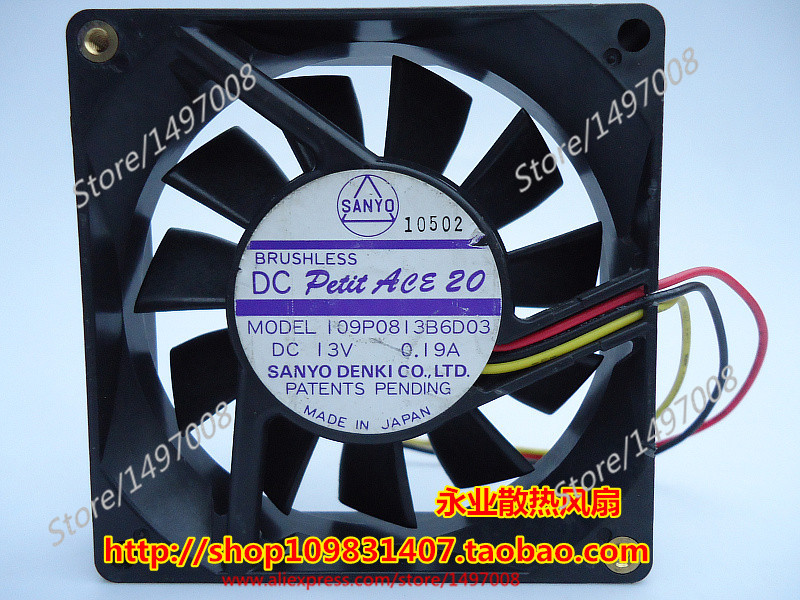 Free Shipping For Sanyo 109P0813B6D03  DC 13V 0.19A 3-wire 80mm, 80X80x20mm Server Square fan