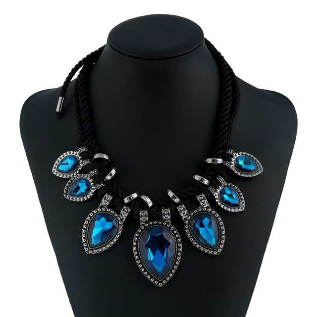Black, Blue Or Green Water Drop Crystal Necklace