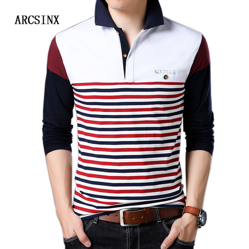 ARCSINX Fashion   Polo   Shirt Men Big Size Patchwork Striped Men's   Polos   Autumn Long Sleeve   Polo   Man Cotton Male   Polo   Shirt 5XL 4XL