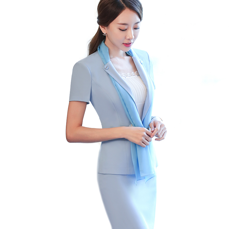 Fashion Summer Style Scarf Skirt Suit Light Blue 2 Pieces Suits Short-sleeve Blazer Jacket & Skirt New Arrivals Women Wear