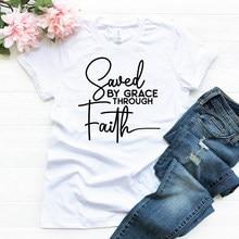 Camiseta feminina inspirado igreja cristã religiosa camiseta de verão tumblr hipster tshirts gráficas salvo pela graça através da fé