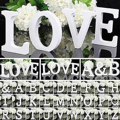 Home Decor งานแต่งงานตกแต่ง 1pc ขนาดใหญ่ตัวอักษรไม้ตัวอักษรแขวนงานแต่งงาน Decor หัตถกรรมไม้ตัวอักษร