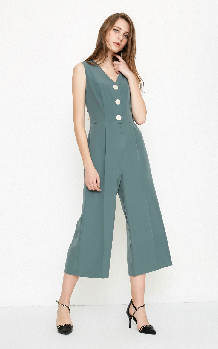 Vero Moda spring fashionable V-collar loose-leg cropped Jumpsuits for women |318144507 13