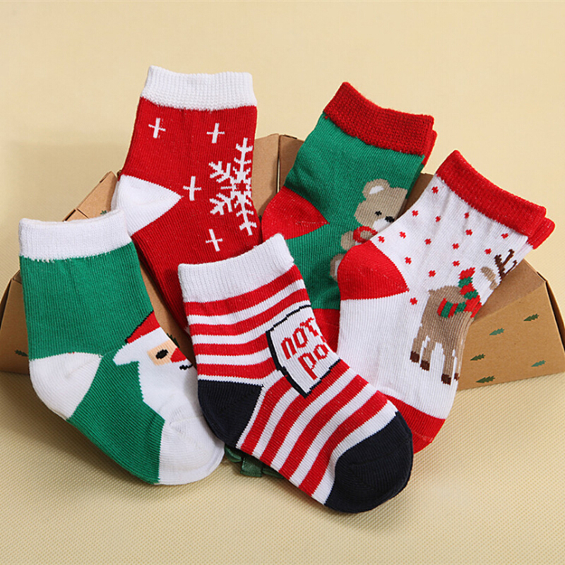 Winter Newborn Baby Boy Sock Christmas Themed Cartoon Cotton Girl Socks Non-slip 6 Colors For Children Cute Warm Socks BWZ10 soumit 5 colors professional yoga socks insoles ballet non slip five finger toe sport pilates massaging socks insole for women