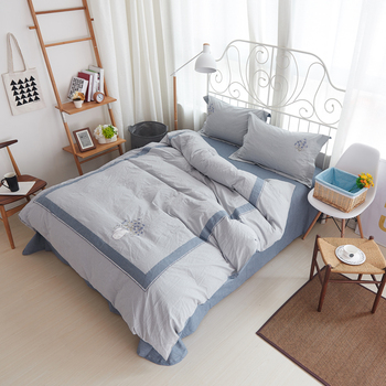 Washed Cotton Embroidery Bedlinen Luxury bedclothes King Queen size bedcover Doona duvet cover sheet pillowcase 4pc bedding set
