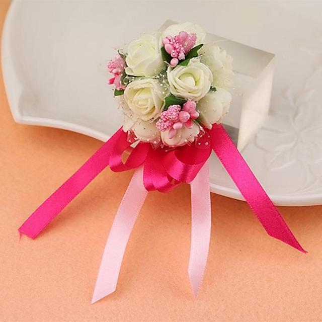 Bracelet Of Artificial Flowers Bracelets For Prom Sister Bride Bridesmaids Flower Wrist Wedding