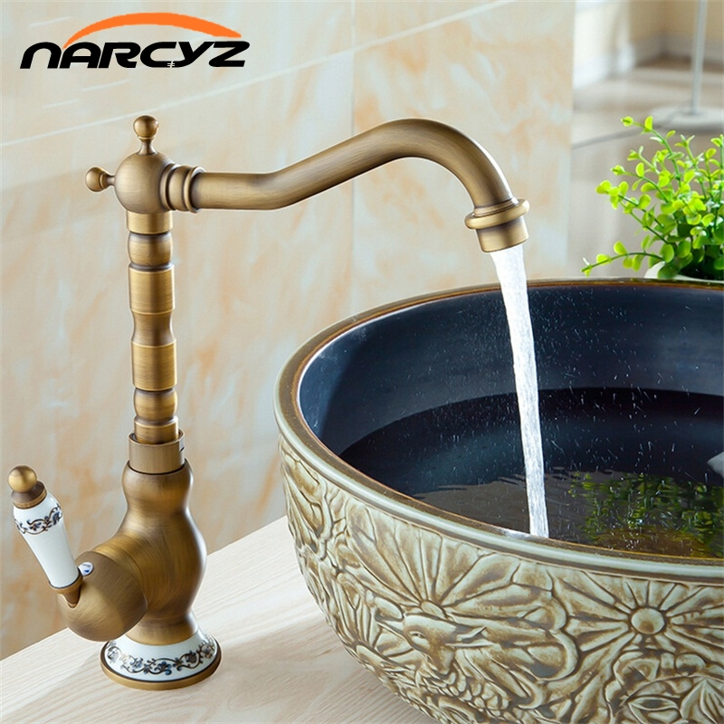 New Style Basin Faucets Antique Bathroom Sink Mixer Deck Mounted Single Handle WC Bathroom Faucet Brass Hot and Cold Tap AC8101 basin faucets brass antique deck mounted kitchen bathroom sink faucets dual handle vintage carving hot cold mixer tap ld10121aab