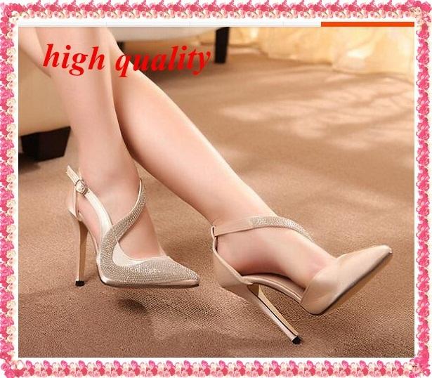 Moda tacón bajo Rhinestone zapatos zapatos de mujer mujer 2014 ladies punta estrecha zapato con cierre bombas altos talones finos sexy Z902