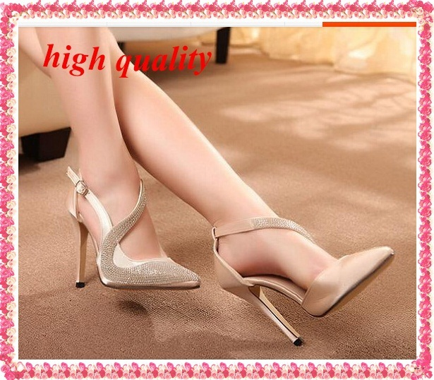 low heel  fashion Rhinestone shoes party women shoes woman 2014 ladies pointed toe ankle strap pumps sexy thin high heels Z902
