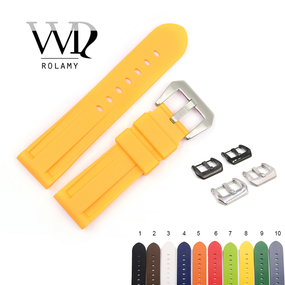 Rolamy 22 24mm Yellow White Black Orange Brown Waterproof Silicone Rubber Replacement Watch Band Strap For Panerai Luminor(China)