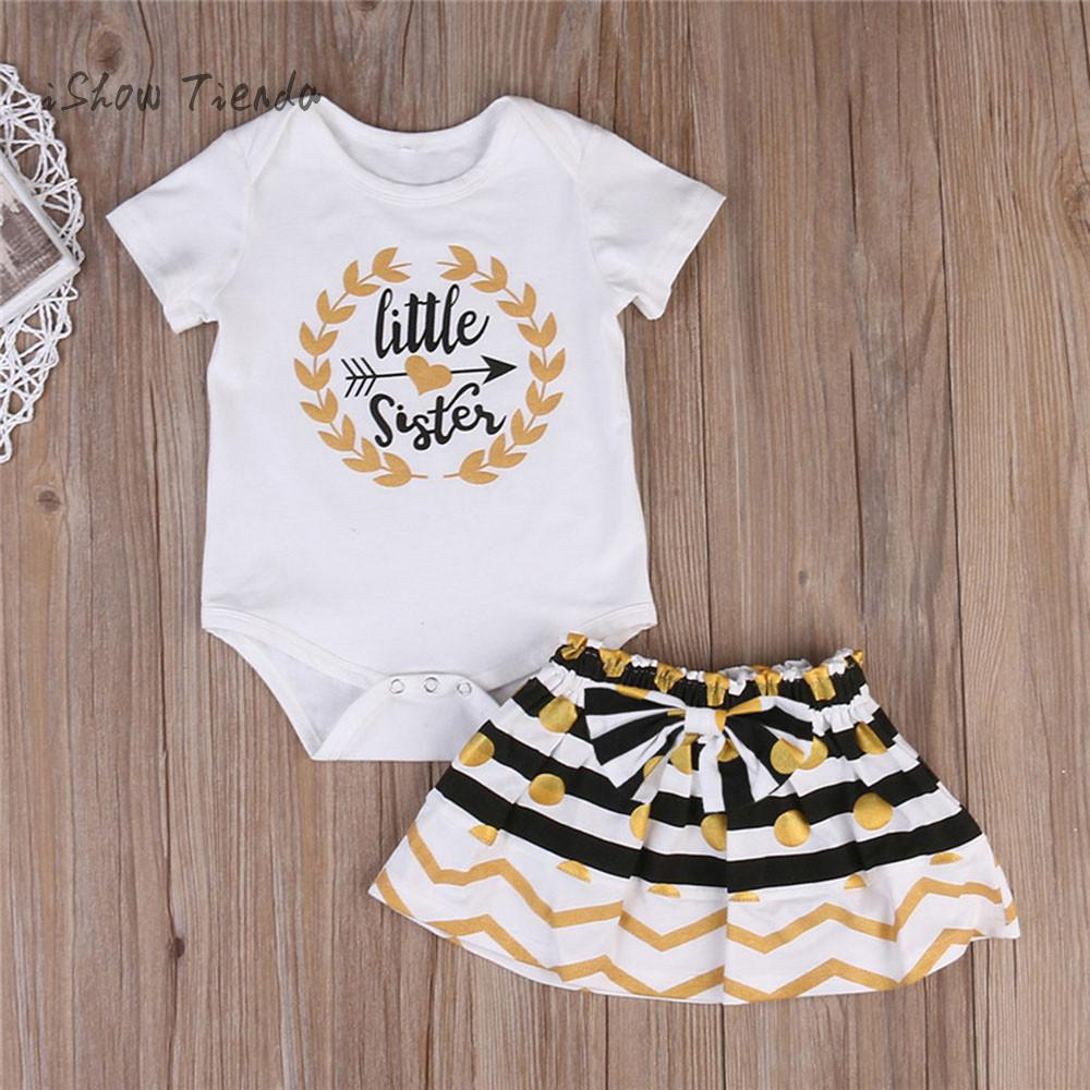 2pcs summer baby clothes for newborns set Little Sister Matching tshirt for girl Top Romper baby jumpsuit Skirt baby girl outfit