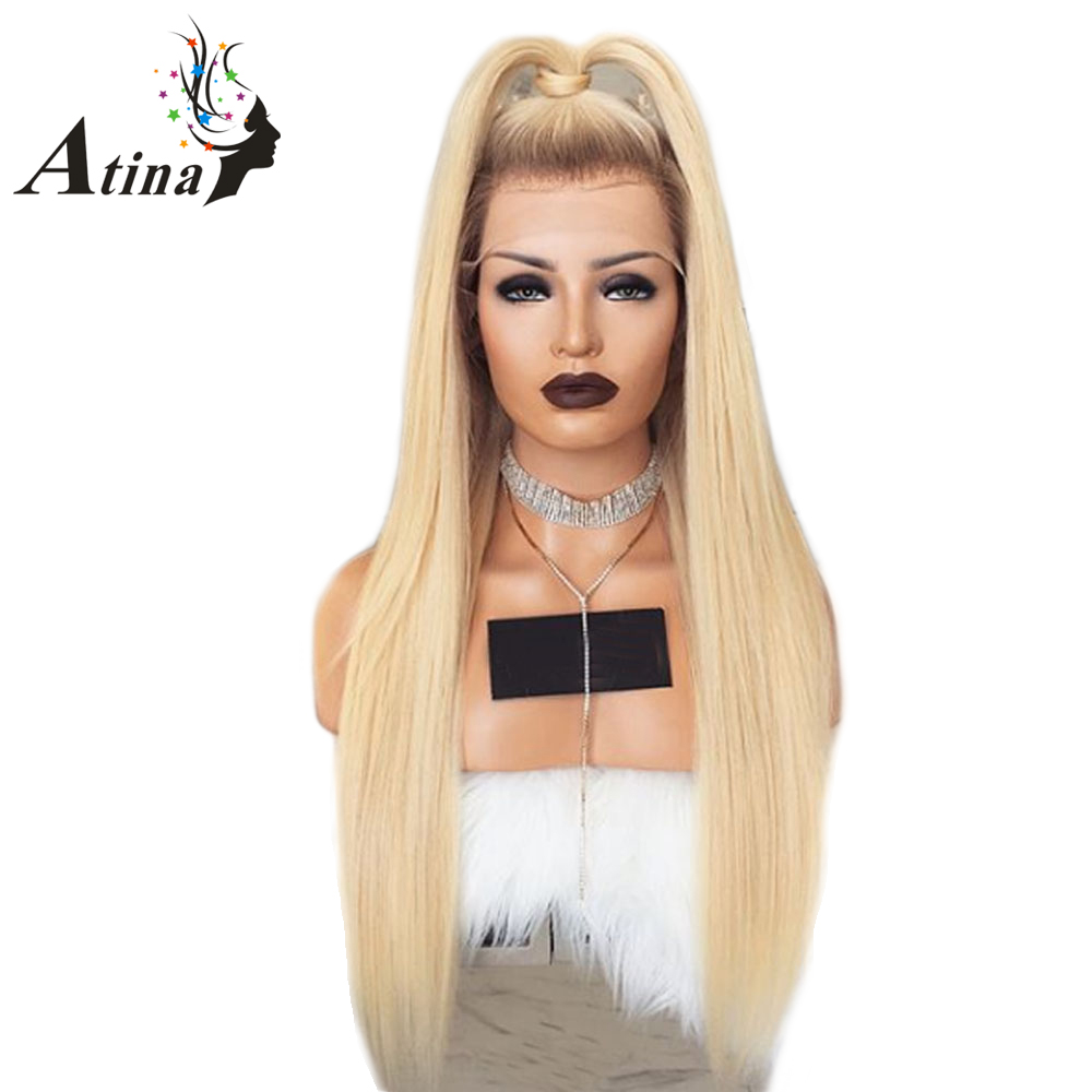 180% Density Ombre T4 613 Blonde Lace Front Wig Straight Virgin Remy Hair Wigs Two Tone Blonde Human Hair Wig Atina