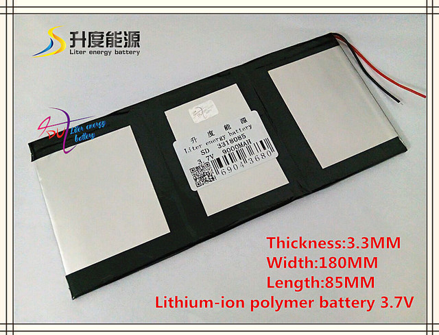 3.7V 9000mAH SD 3318085 (polymer lithium ion / Li-ion battery) for tablet pc,MOBILE POWER BANK;GPS,cell phone,speaker