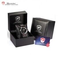Caja de Cuero de lujo Mako SHARK Sport Reloj Relogios LED Digital Fecha Alarma Hombres Del Ejército de Cuarzo Banda de Acero Inoxidable Relojes/SH001-004